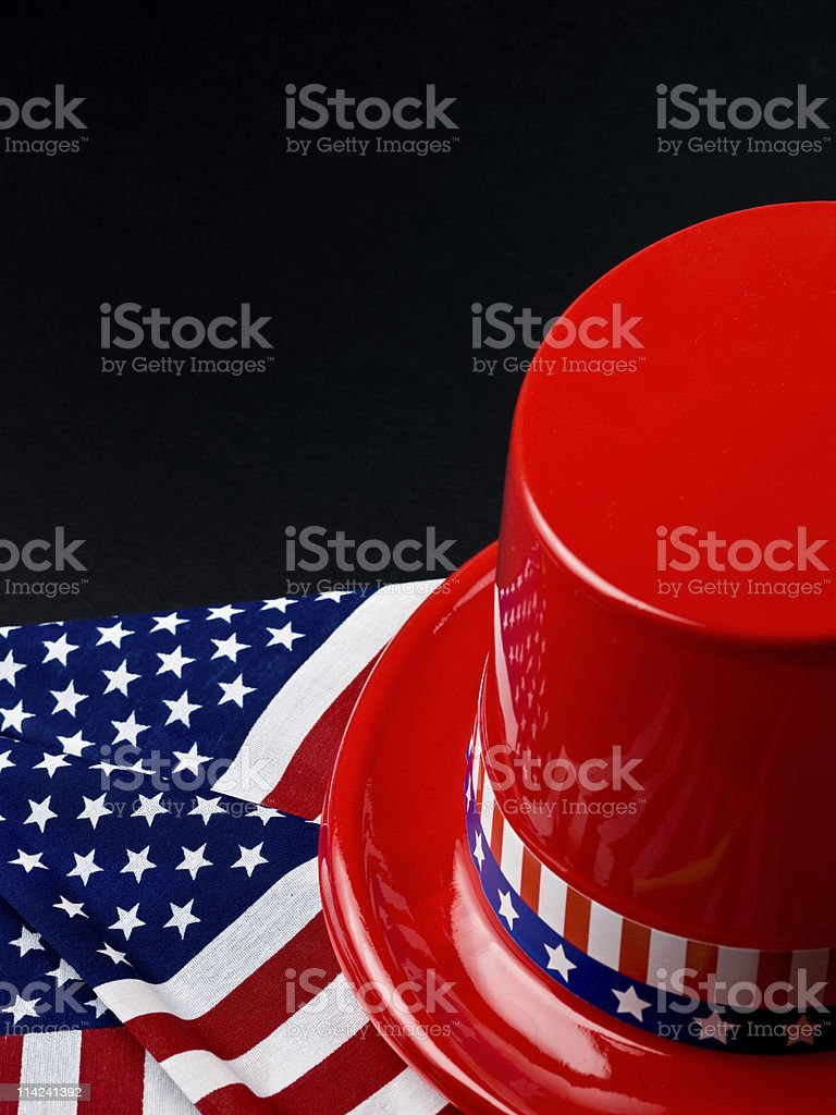 American Flag and Hat on black royalty-free stock photo