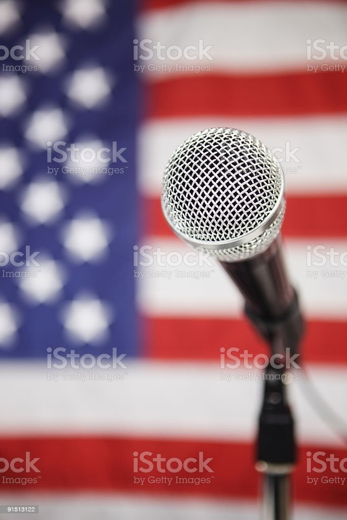 American Flag and microphone royalty-free stock photo
