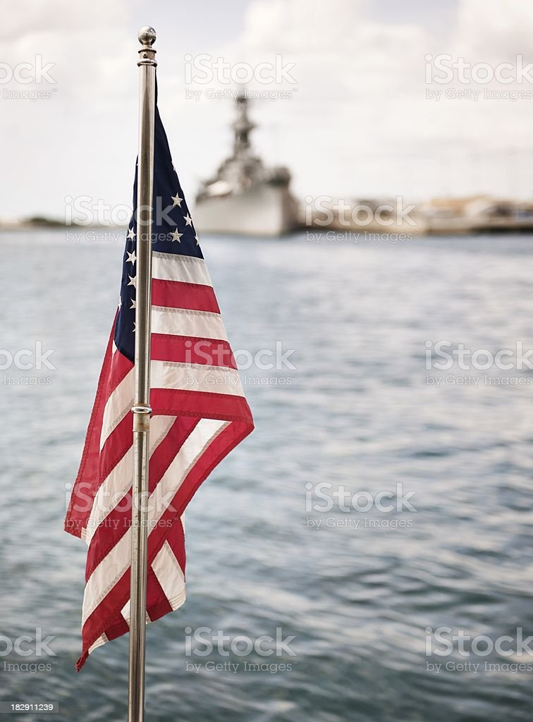 American flag and military ship stock photo