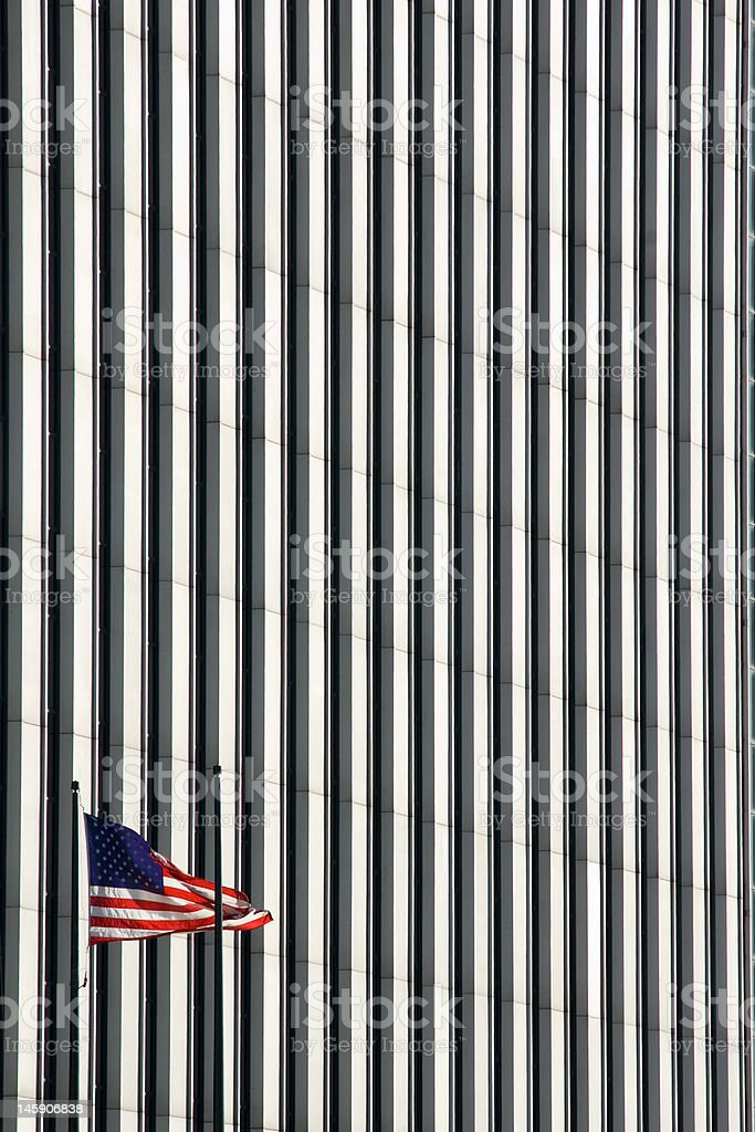 American Flag And Modern Architecture royalty-free stock photo