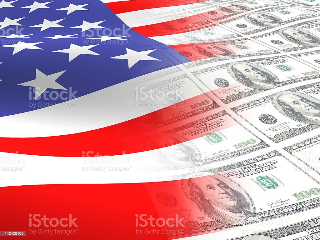 american flag and money stock photo