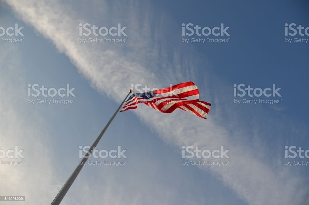 american flag and sky stock photo