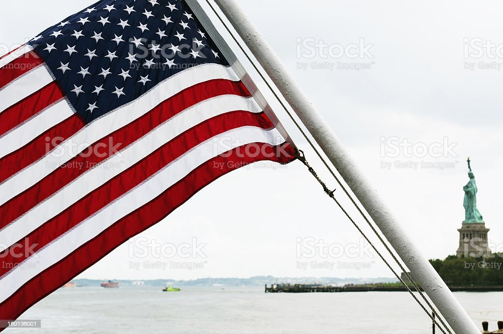 American Flag and Statue of Liberty royalty-free stock photo