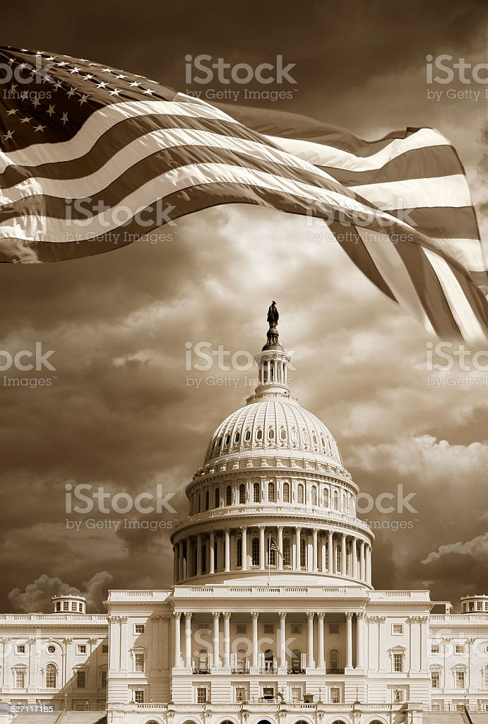 American flag and the Capitol stock photo