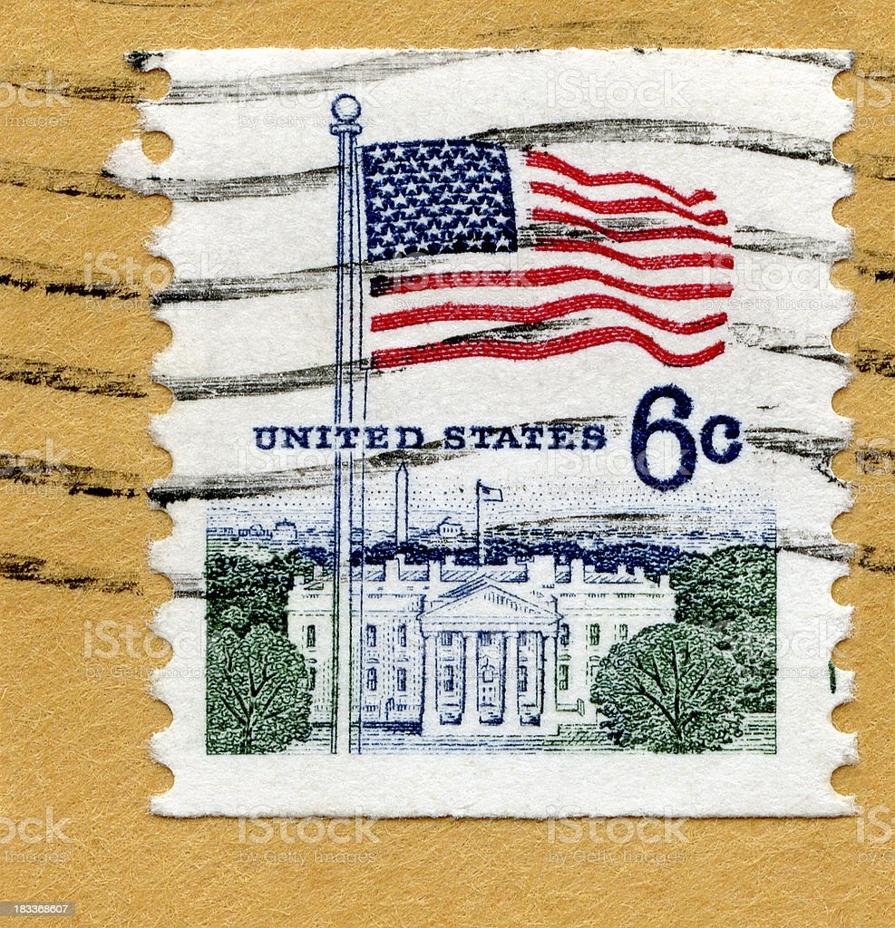 American Flag and the White House royalty-free stock photo
