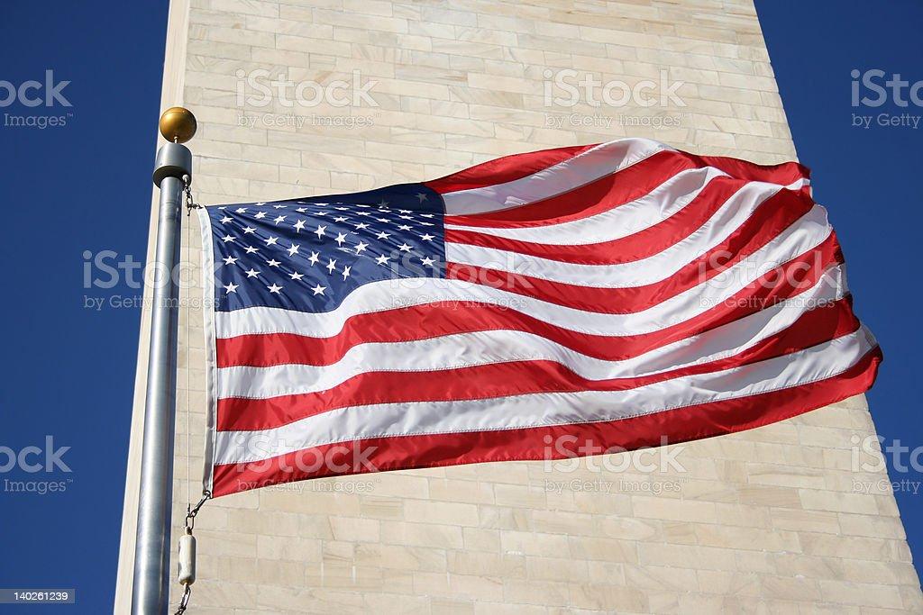 American flag and Washington monument royalty-free stock photo