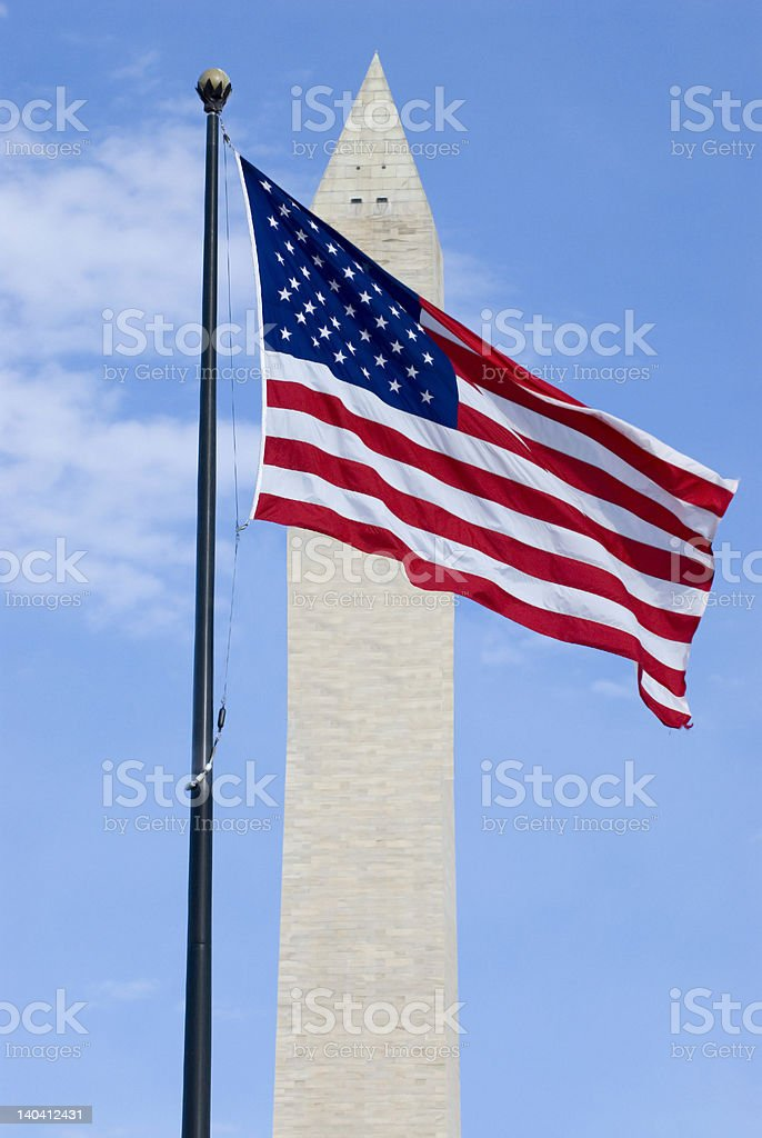 American Flag and Washington Monument royalty-free stock photo