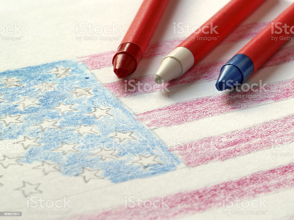 American flag and wax crayons royalty-free stock photo