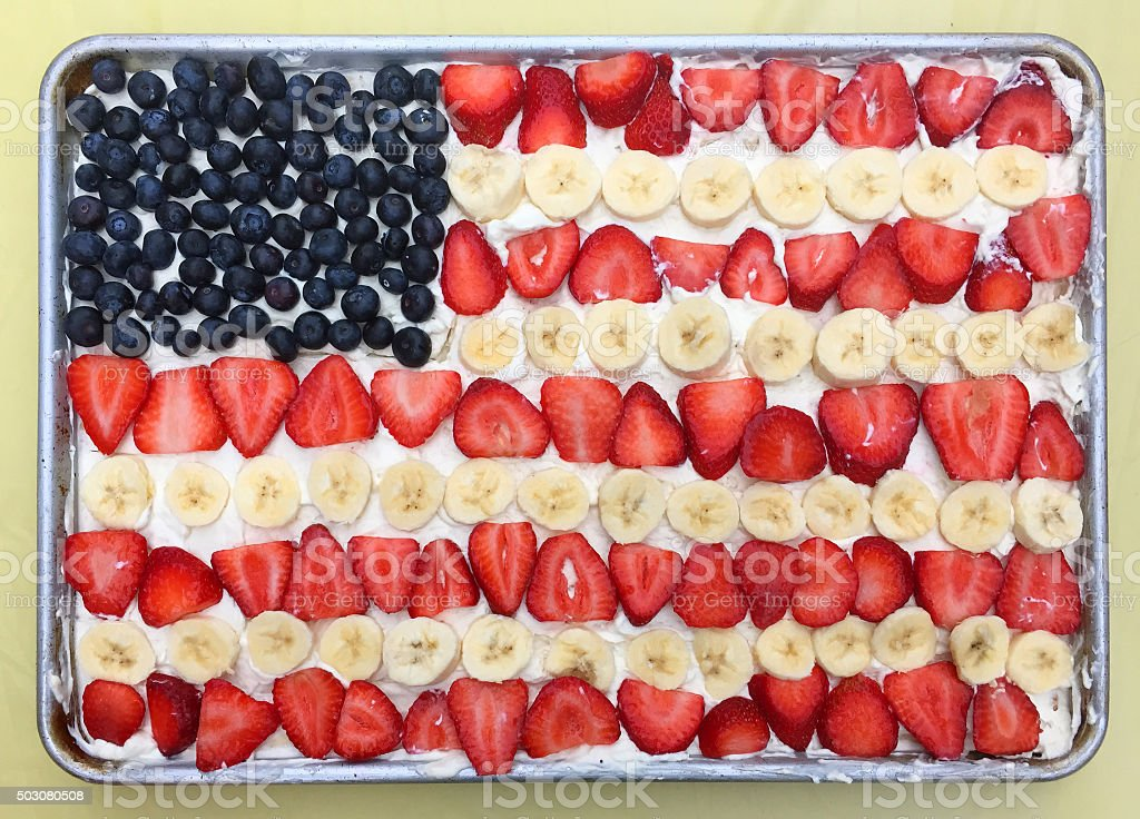 American flag as a fruit cake stock photo