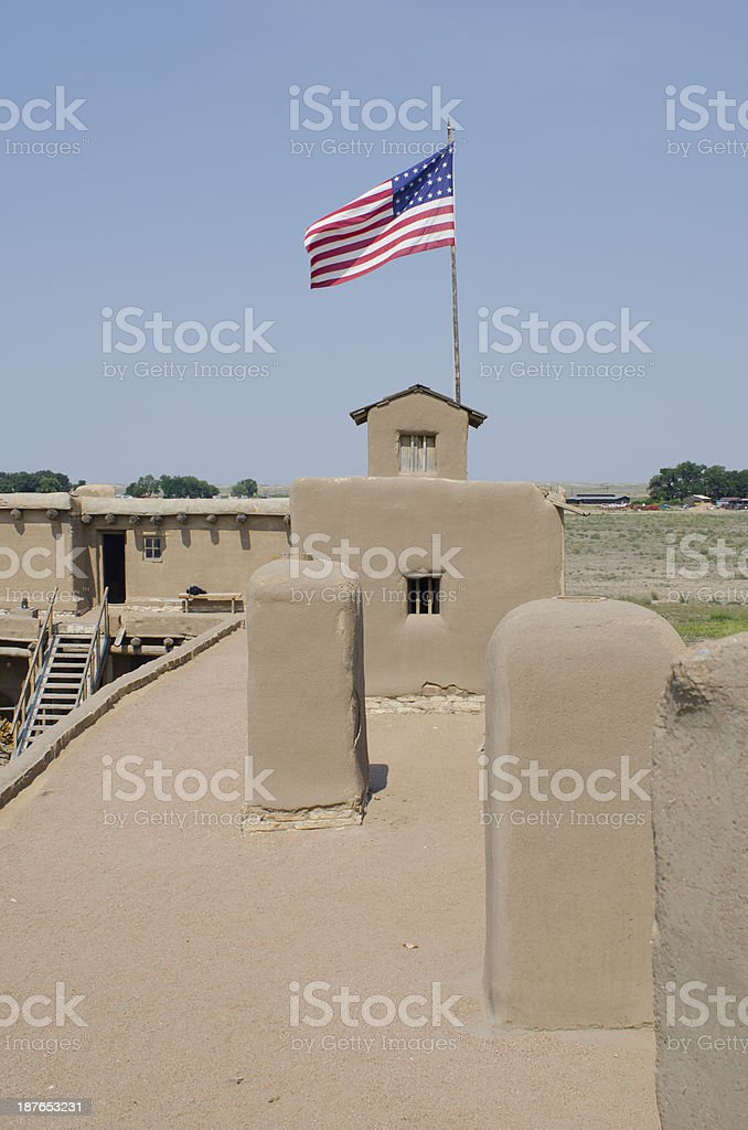 American Flag at Bent's Old Fort National Historic Site stock photo