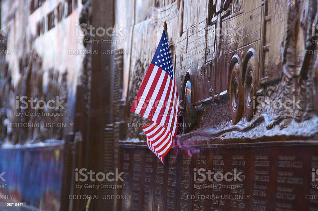 American flag at FDNY Memorial Wall, Ground Zero stock photo