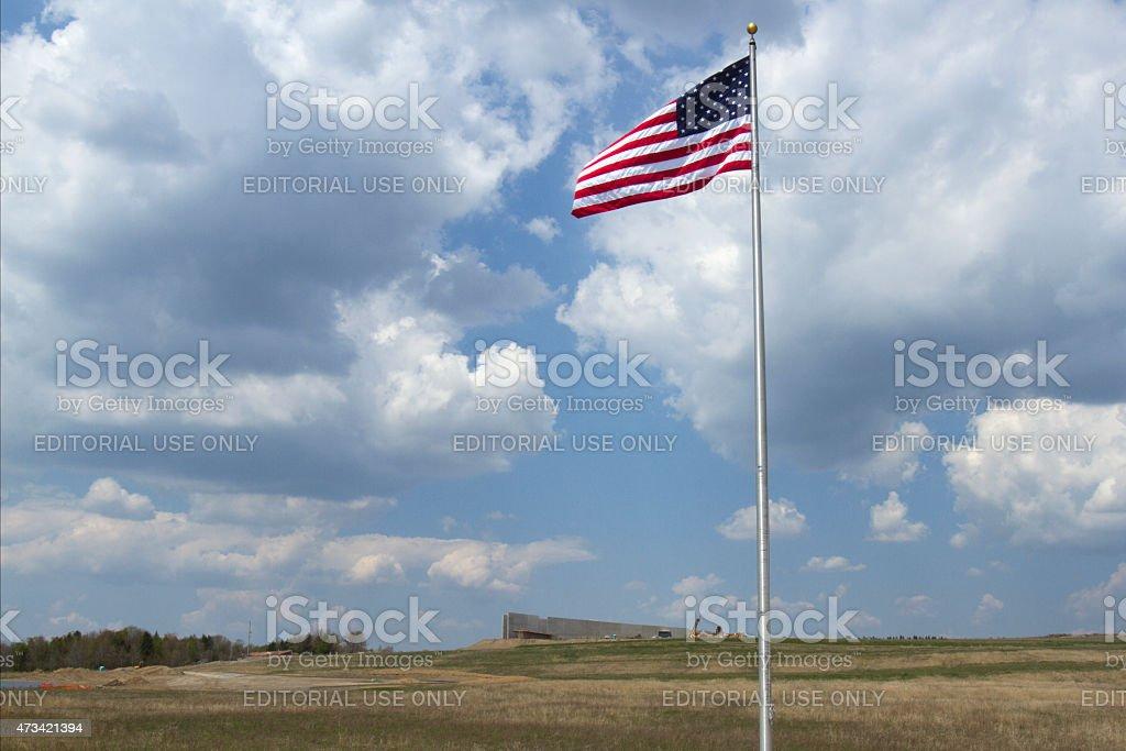 American Flag at Flight 93 Memorial stock photo