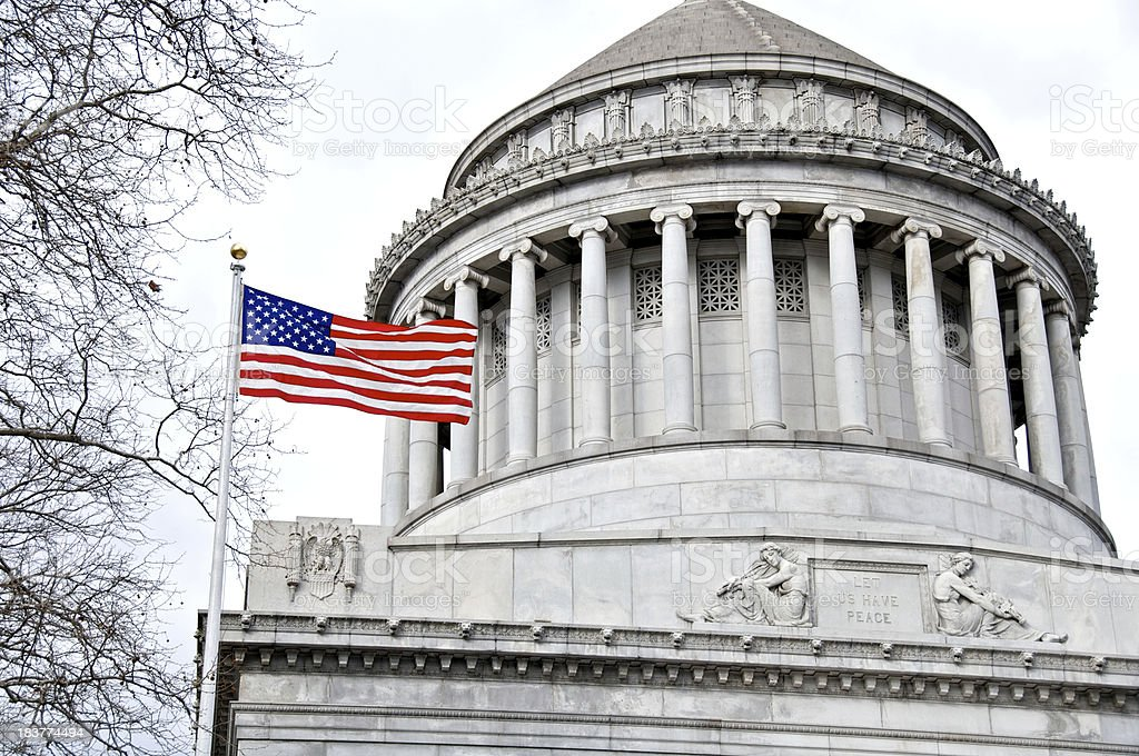 American flag at General Grant National Memorial, Grant's Tomb, NYC stock photo