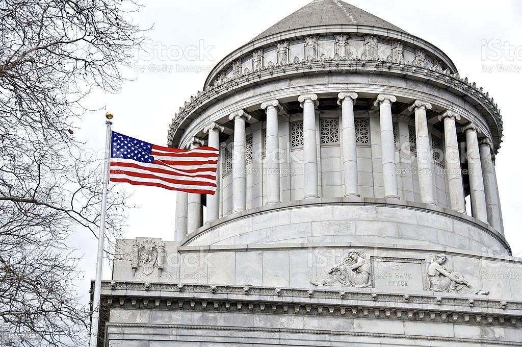 'American flag at General Grant National Memorial, Grant's Tomb,' stock photo