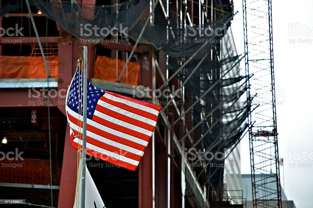 American flag at Ground Zero -ONE World Trade Center consturction stock photo