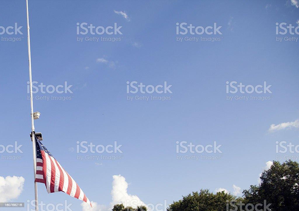 American Flag at Half Mast royalty-free stock photo