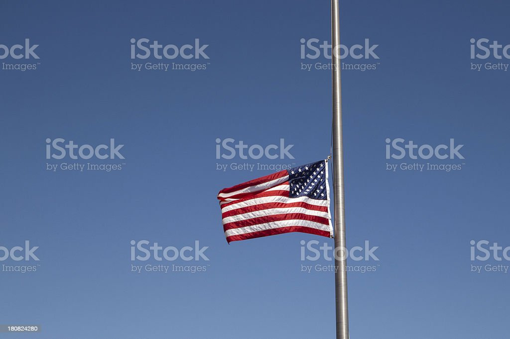 American Flag at Half Staff royalty-free stock photo