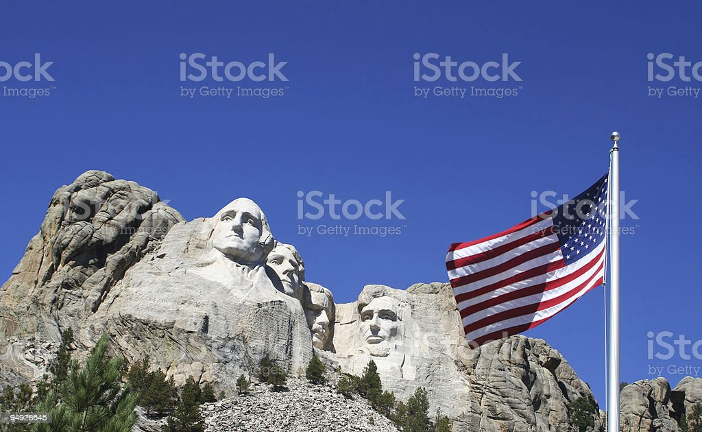 American Flag at Mount Rushmore stock photo