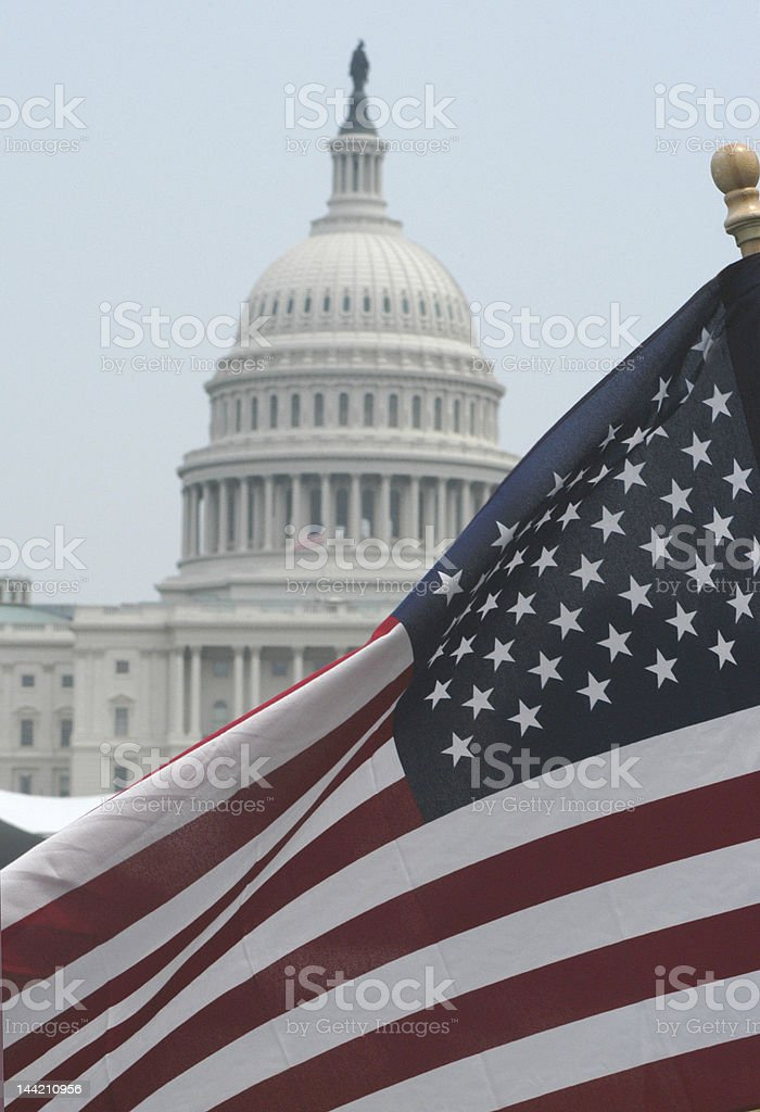 American Flag at U.S. Capitol royalty-free stock photo