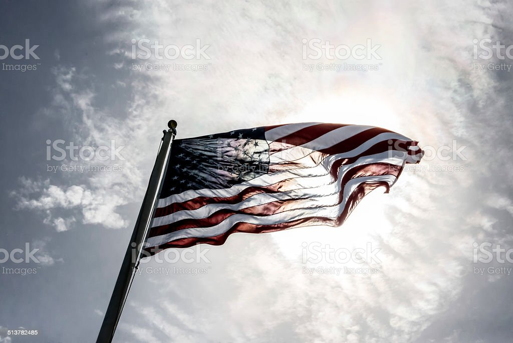 American Flag Back Lit stock photo