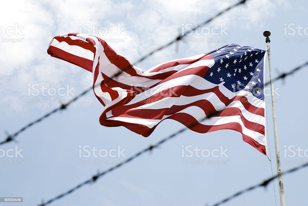 American Flag Barbed Wire stock photo