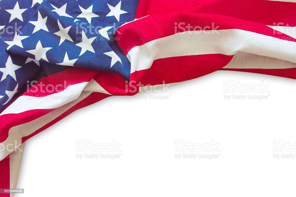 American flag border isolated stock photo