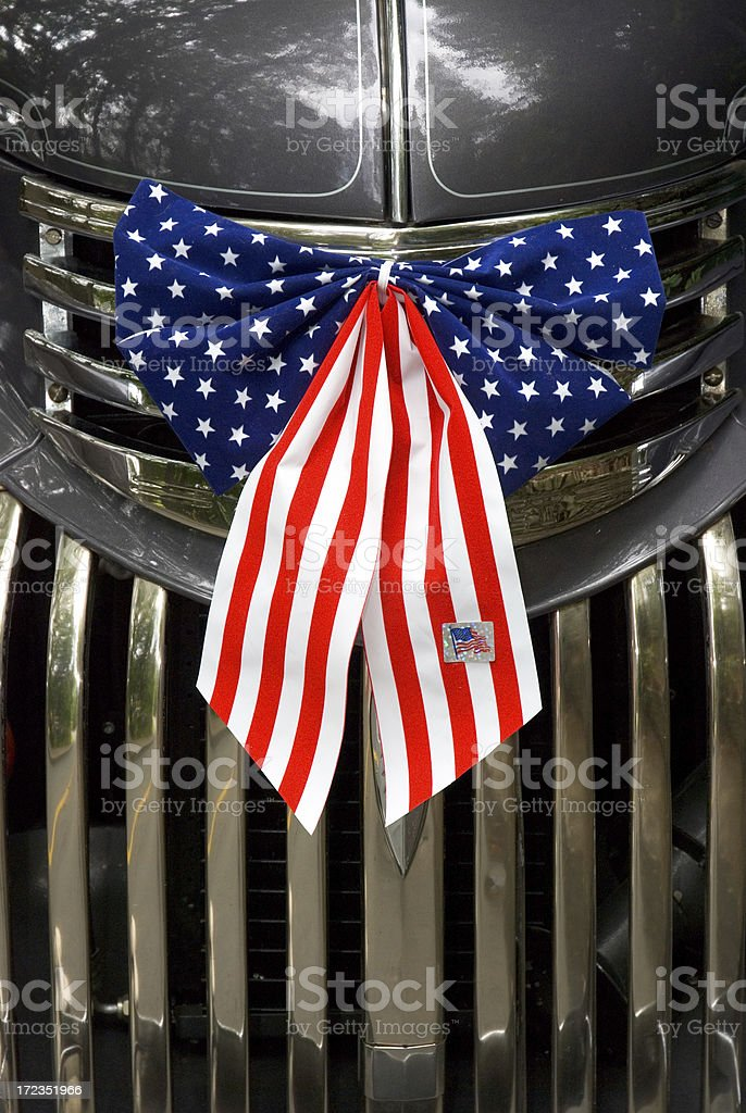 American Flag Bow on Auto Grille royalty-free stock photo