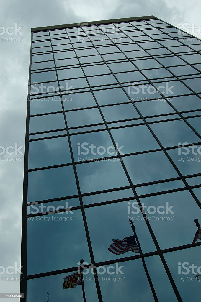 american flag building reflection stock photo