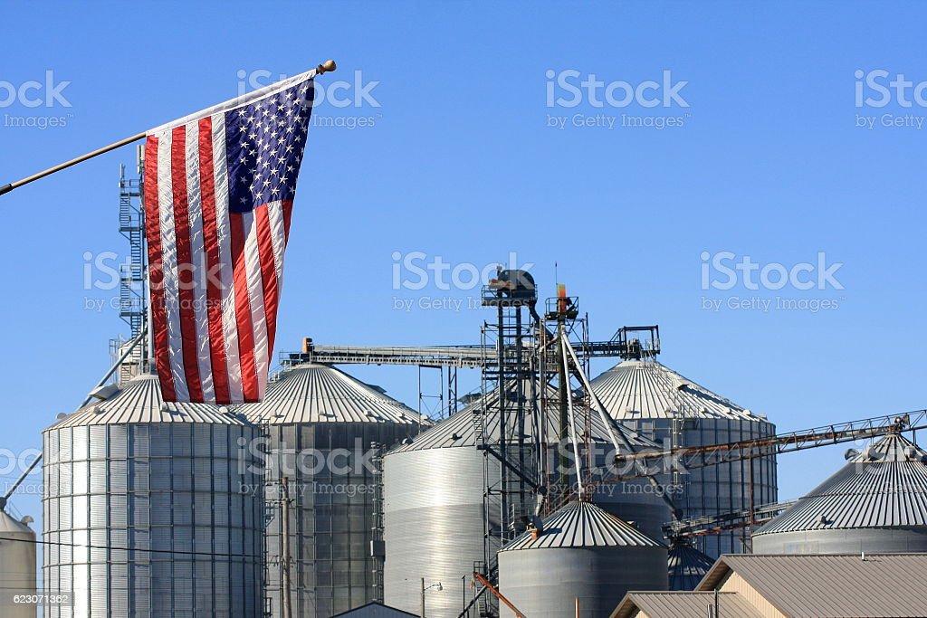 American Flag by Iowa Grain Bins stock photo
