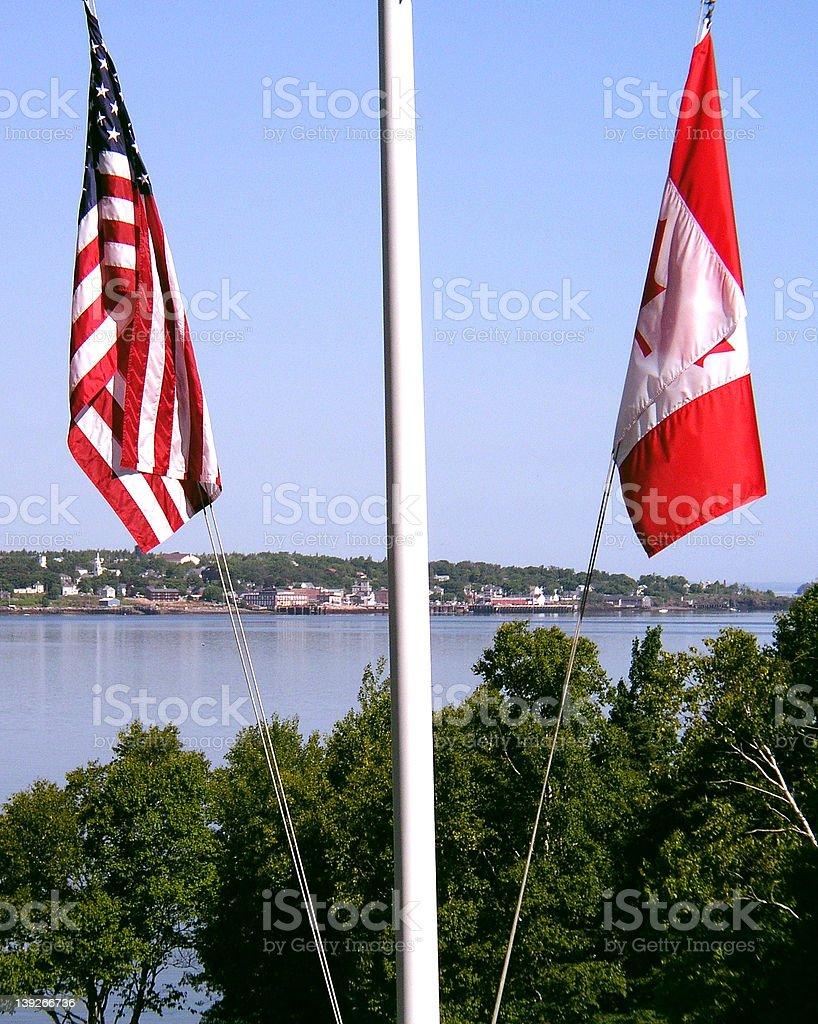 American Flag Canadian Flag stock photo