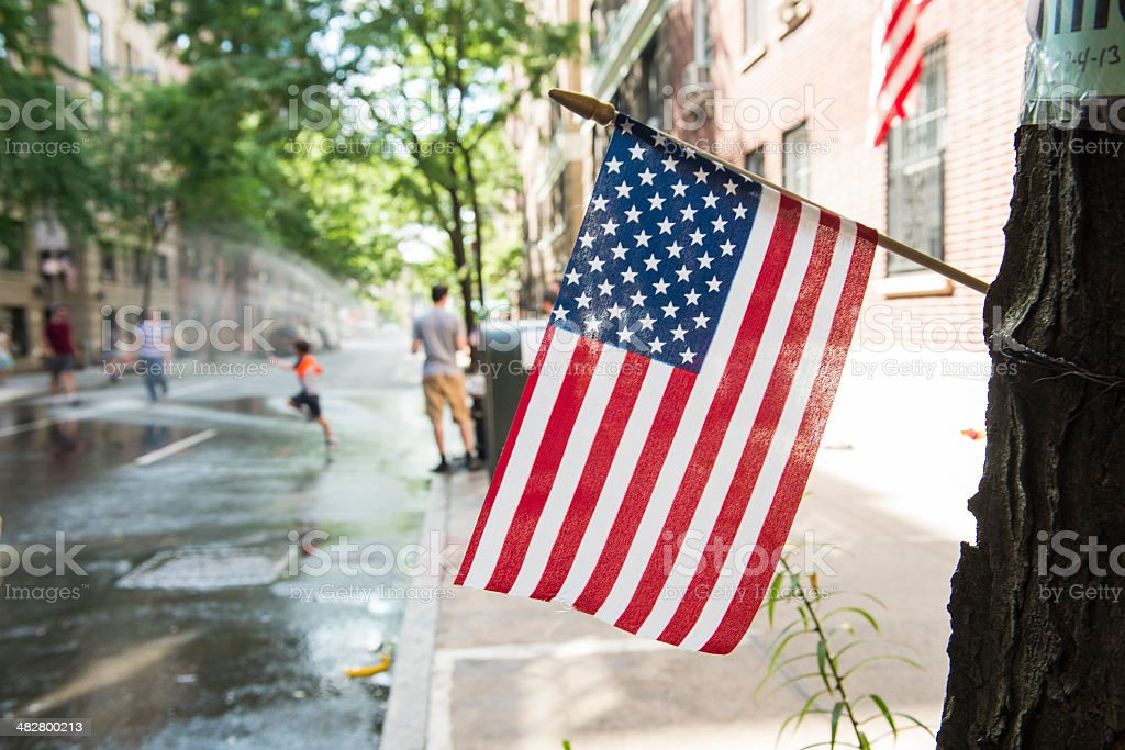 American Flag Celebrating Independence Fourth of July in NYC stock photo