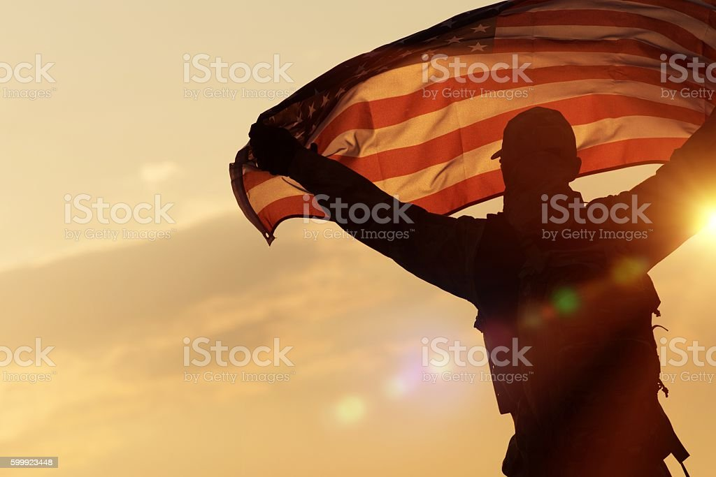 American Flag Celebration stock photo