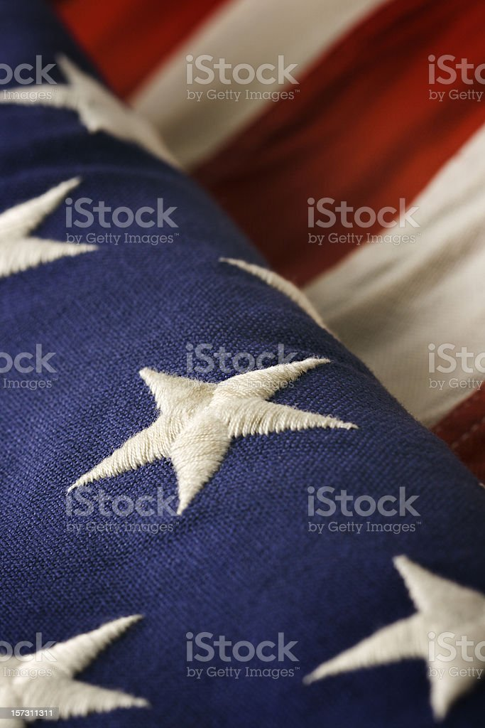 American Flag Close-up, Old USA National Banner Red, White, Blue royalty-free stock photo