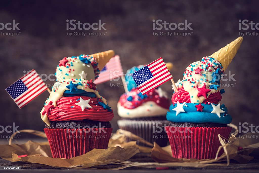 American flag cup cake stock photo