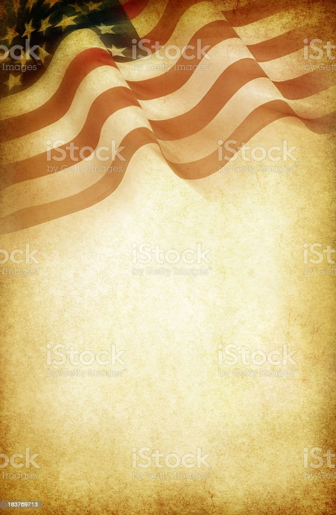 American flag design on coffee colored white paper stock photo