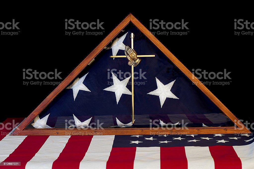 American Flag Encased/Remembrance Box stock photo