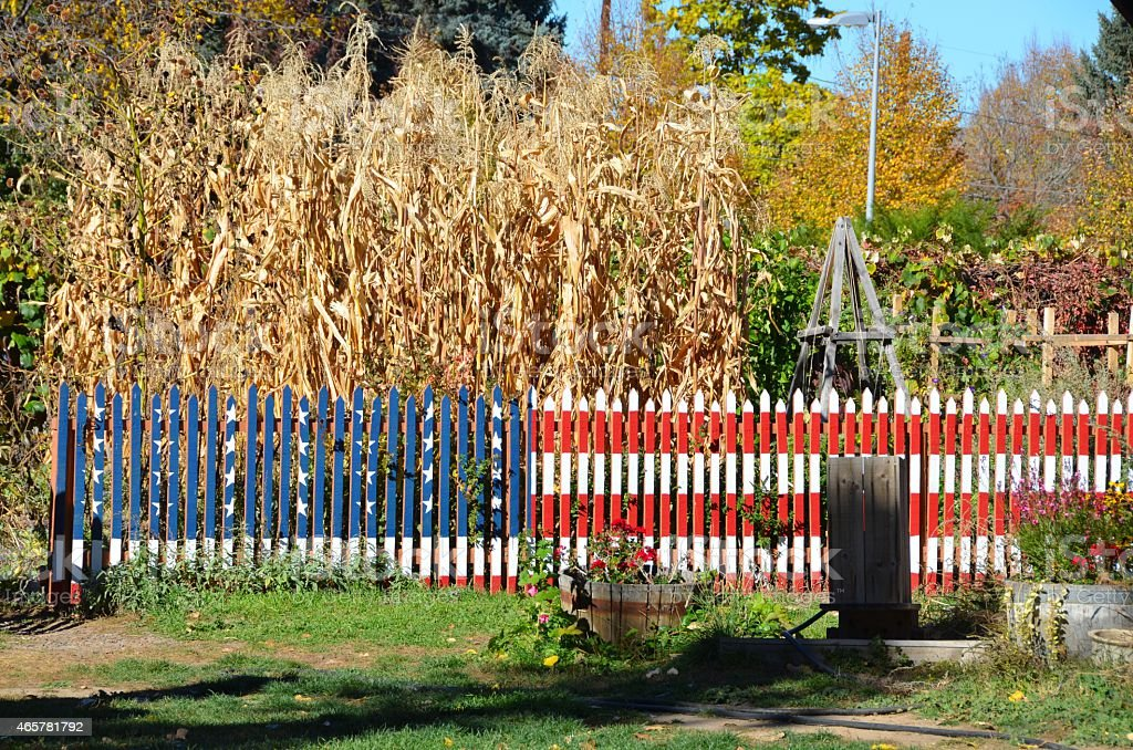 American Flag Fence stock photo