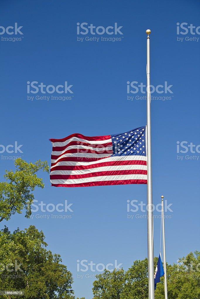 American Flag Flying At Half Staff stock photo