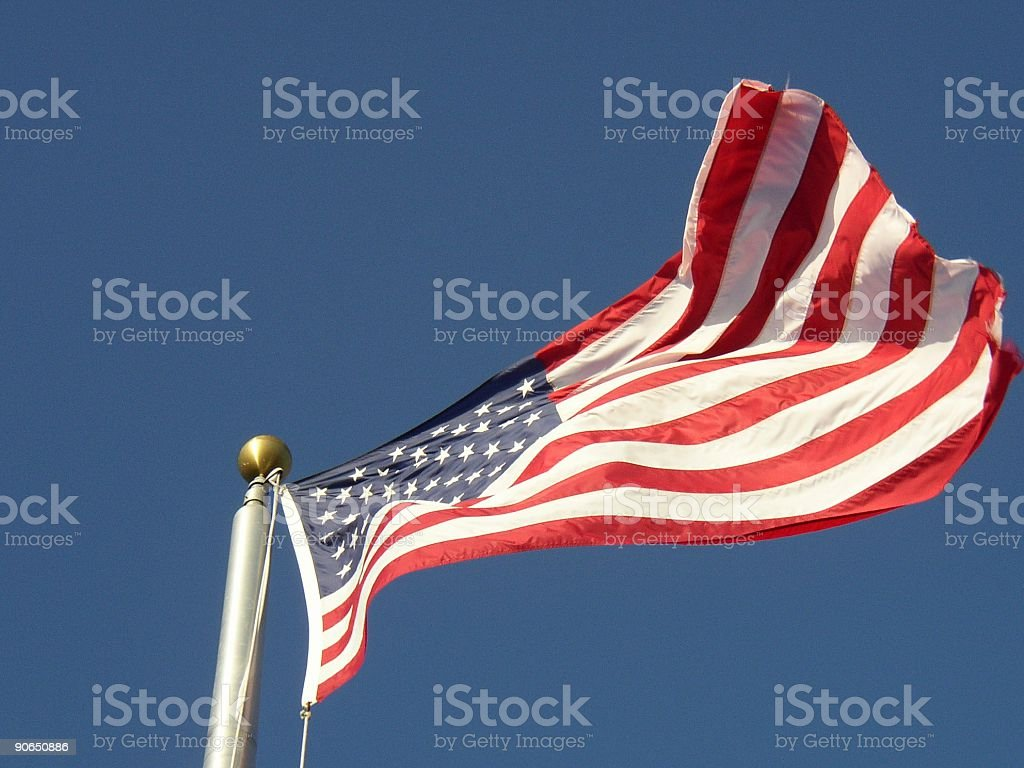 American Flag flying high royalty-free stock photo