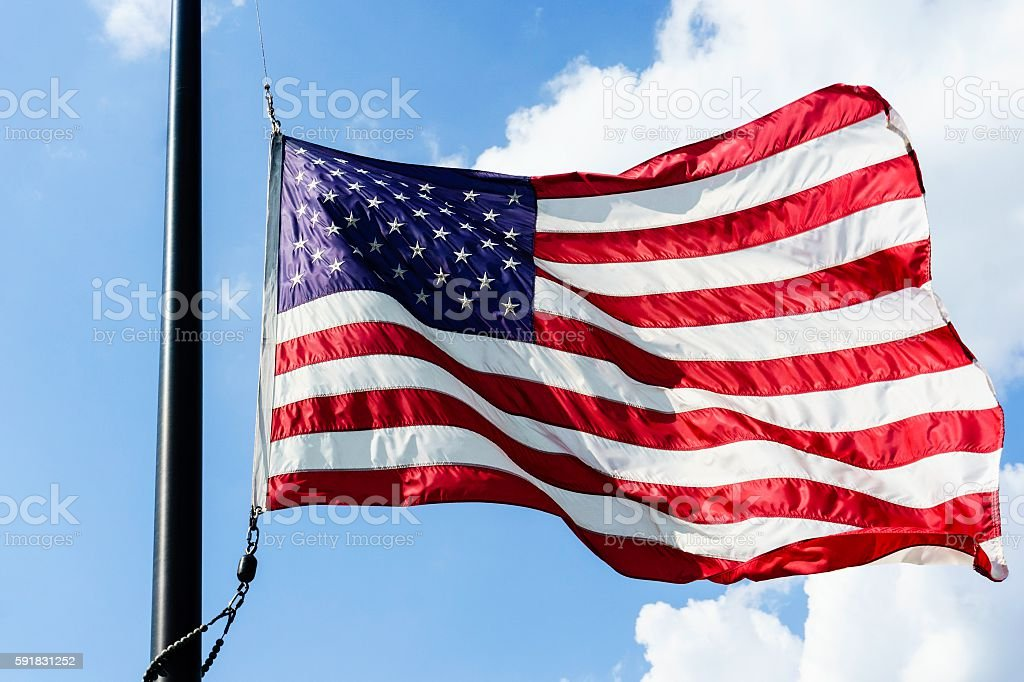 American Flag Flying in the Breeze stock photo