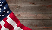 American Flag Fourth of July on Old Wood Background