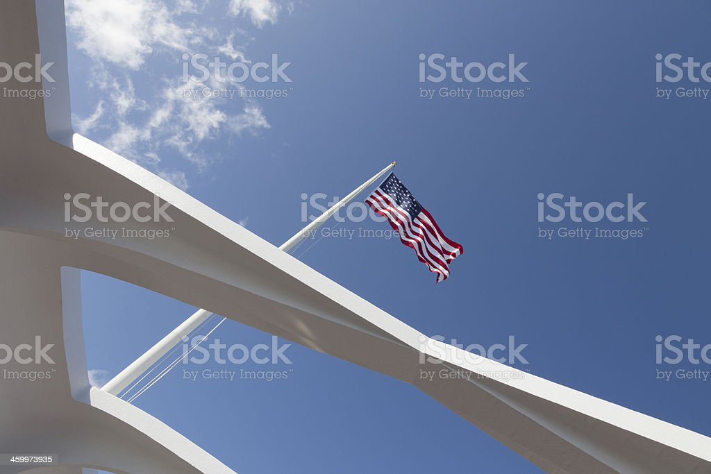 American Flag from Pearl Harbor Memorial royalty-free stock photo