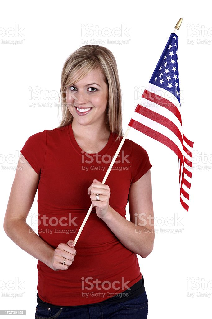 American Flag Girl XXL royalty-free stock photo
