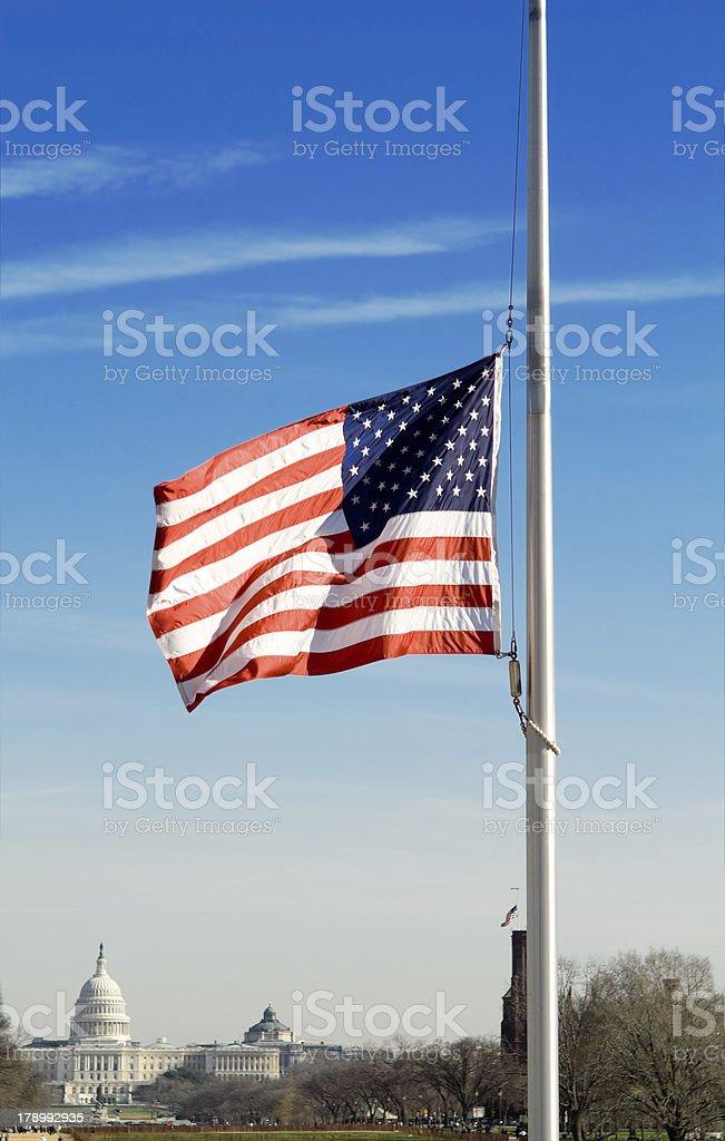 American Flag Half Mast U.S. Capitol, Washington, DC, USA stock photo