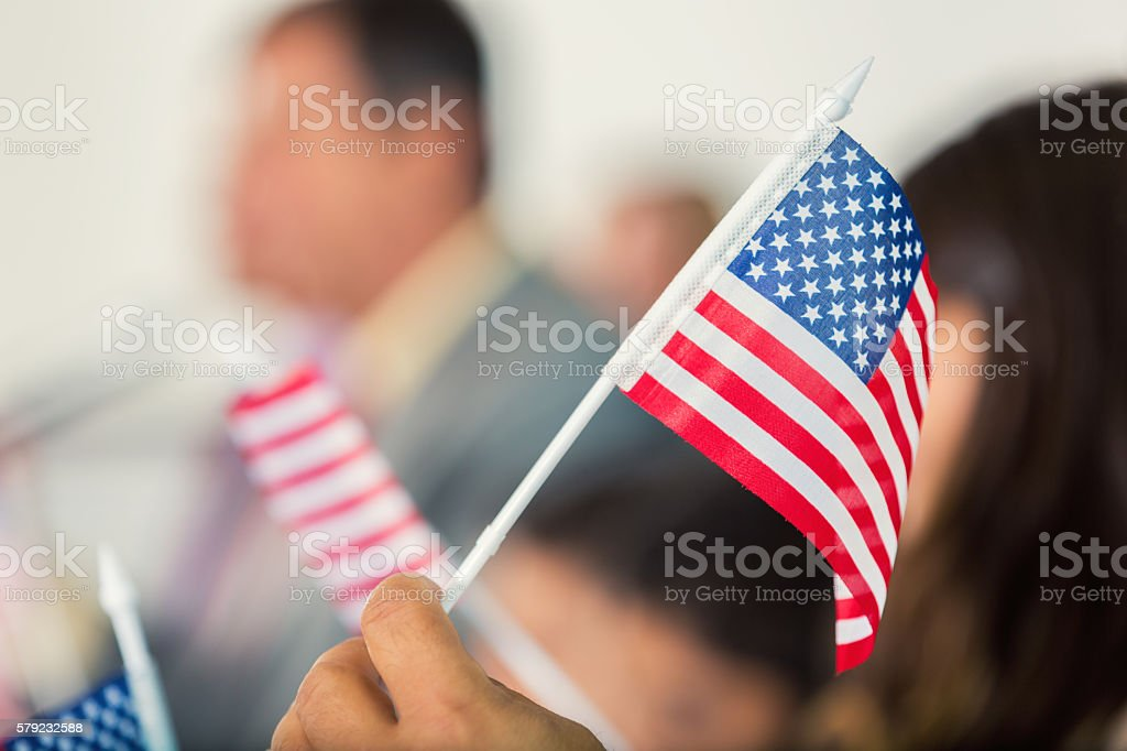 American Flag hand held stock photo