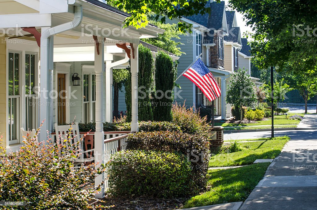 American Flag Hanging to Celebrate the American Dream stock photo