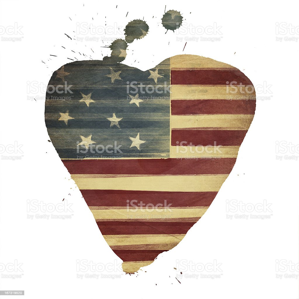 American flag heart shaped royalty-free stock photo