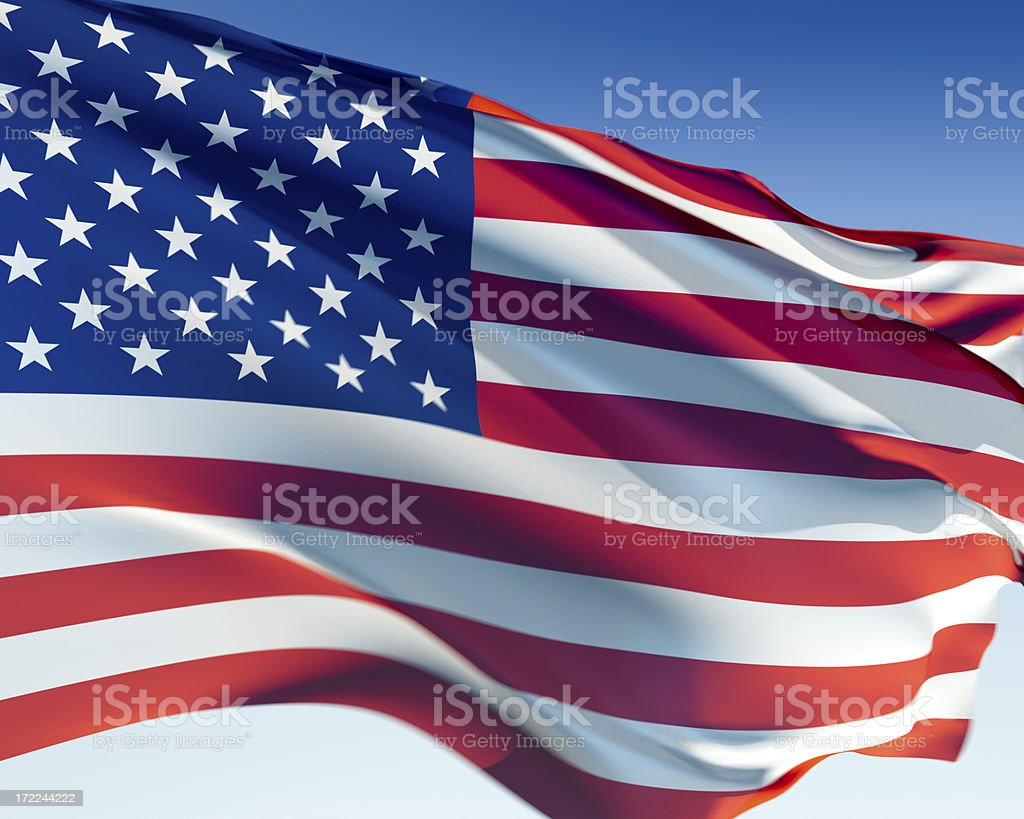 American flag illustration waving in the wind on a blue sky royalty-free stock photo