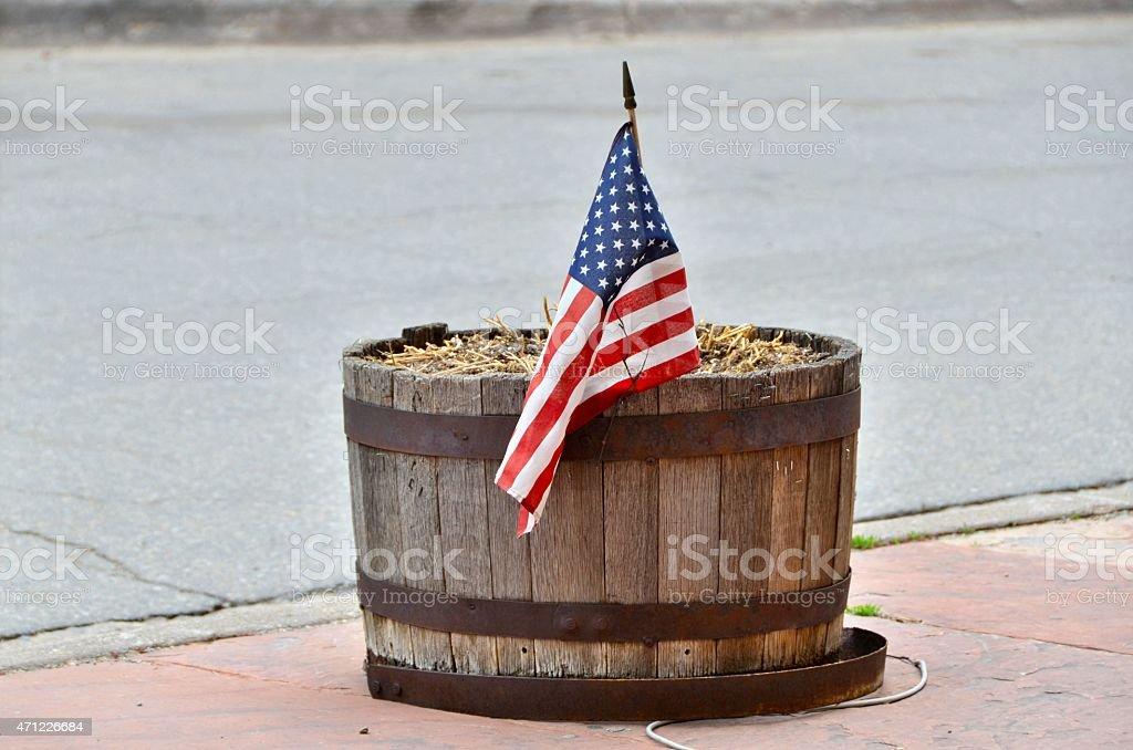 American Flag in Barrel stock photo