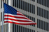 American Flag in Downtown Detroit